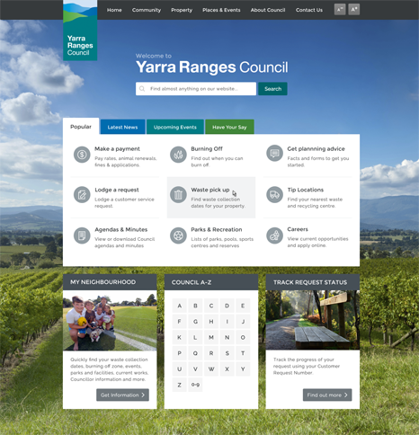 Yarra Ranges site - Home page screen shot