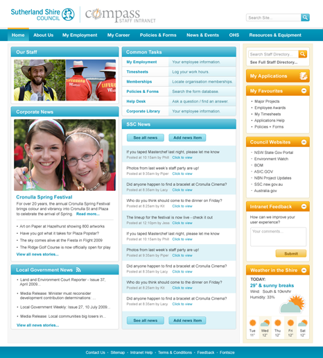 Sutherland Shire Council home page - screen shot